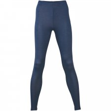 Leggings donna blu lana biologica e seta