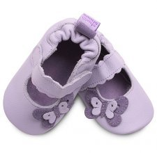 Lilac classic girls soft soled leather baby shoes