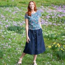 Mudeford woman skirt in organic cotton denim