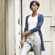 Long women's jacket in hemp jersey and organic cotton