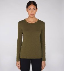 Long sleeve round neck woman tee-shirt Khaki