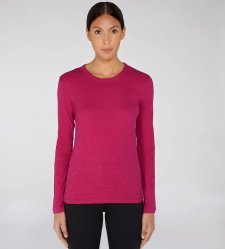 Long sleeve round neck woman tee-shirt Raspberry