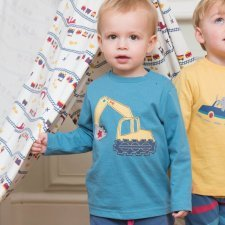 Long sleeve shirt boy Excavator in organic cotton