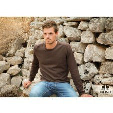 Long sleev brown shirt for men in hemp