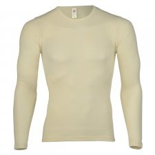Long sleeve shirt white in pure merinos organic wool