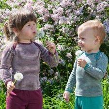 Long sleeve vest for babies in organic virgin wool and silk