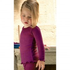 Long sleeve vest girl in organic wool and silk