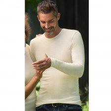 Long sleeve vest in organic wool/silk
