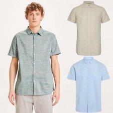 Short-sleeved men's shirt in organic cotton and organic linen