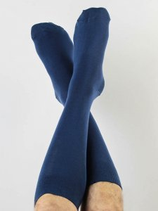 Long socks blue in organic cotton Albero Natur