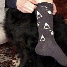 Long socks in merino wool and mountain Gray silk