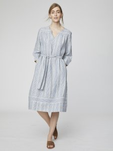 Luis Striped Midi Hemp Dress