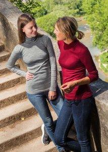 Maglia collo alto donna in lana biologica e seta