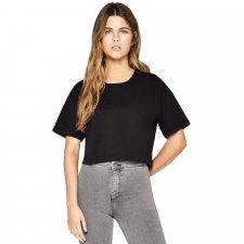 T-shirt taglio corto da donna in cotone biologico - Nero
