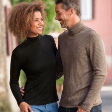 Maglia donna collo a lupetto in lana biologica e seta