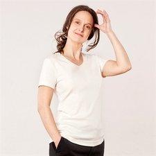 Maglia donna manica corta collo V cotone biologico