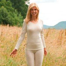 Maglia donna Manica lunga lana biologica e seta