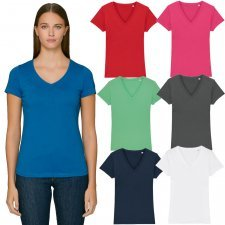 T-shirt donna Evoker collo a V in puro cotone biologico