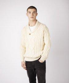 Maglione Aran Dair con colletto da uomo in pura lana