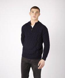Maglione Aran Dris con zip sul collo da uomo in pura lana