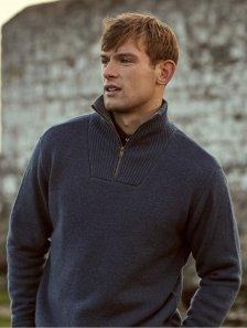 Maglione bicolore con collo alto e zip da uomo in pura lana