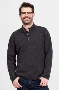 Maglione da uomo con collo a zip in Cotone Biologico