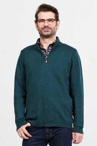 Maglione da uomo con collo a zip in Cotone Equosolidale