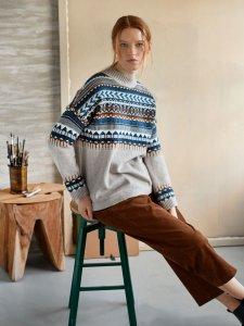 Maglione Delilah Fairisle da donna in misto lana e cotone biologico