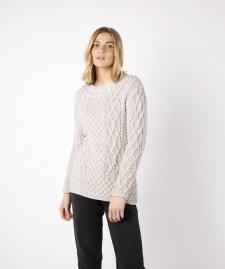 Maglione Aran Spindle da donna in pura lana