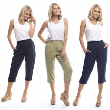 Capri pants in linen, cotton and natural viscose