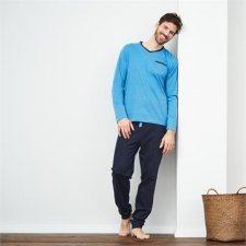Man pyjama azur striped V neck in organic cotton