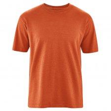 Man basic t-shirt in hemp and organic cotton Dark Orange