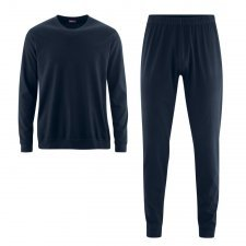 Man navy blue pyjamas with cuffs in organic cotton