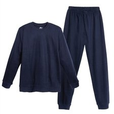 Man navy blue pyjamas with cuffs in organic cotton