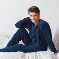 Man navy pyjama in terry organic cotton