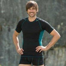 Man short sleeve Sport shirt in organic virgin wool and silk