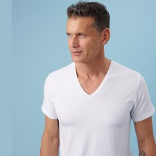 Man V neck T-Shirt in natural fabric
