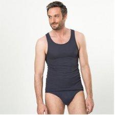 Sleeveless man shirt navy graphite in organic cotton