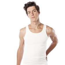 Sleeveless man shirt white in organic cotton
