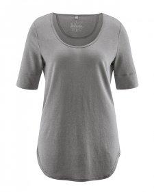 Maxi T-shirt donna con bordo arrotondato in canapa e cotone biologico