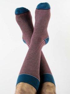 Medium socks burgundy stripes in organic cotton Albero Natur
