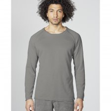 Men knitted pullover with raglan sleeves in organic cotton and hemp