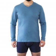 Men's pajama shirt Denim in 100% organic cotton