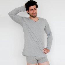 Men's pajama shirt Grey in 100% organic cotton