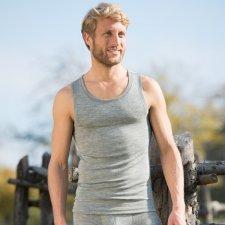 Men sleeveless vest Grey in organic wool and silk