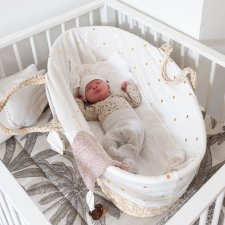 Moses basket cover in cotton jersey - golden polka dots