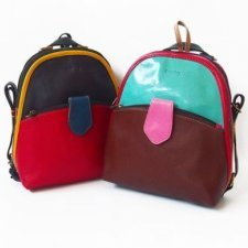 Multicolored Oval backpack in EquoSolidale recycled leather