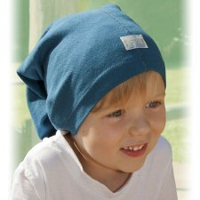 Multipurpose light blue hat in organic cotton