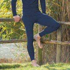 Mutande lunghe uomo Blu in lana biologica e seta