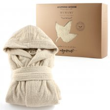 Mymami natural hooded bathrobe in organic cotton
